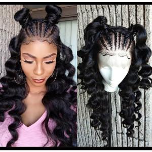 Elva Hair 250 Density Pre Plucked Brazilian 360 Lace Frontal Wig Loose Wave (w81)