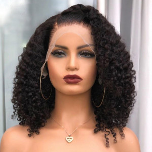 Elva Hair 180 Density Pre Plucked 360 Lace Frontal Wig Brazilian Curly Hair (w115)