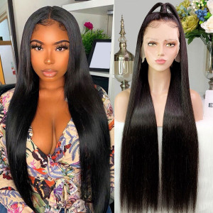 Elva Hair 150 Density 13x6 Brazilian Straight Lace Front Wigs Pre Plucked (w247)
