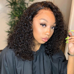 Elva Hair 130 Density 13X4 Brazilian Curly Lace Front Human Hair Wigs(w175)