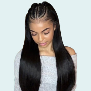 Elva Hair 2019 New Brazilian Straight 370 Lace Human Hair Wigs 150 Density (W181)