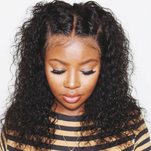 Elva Hair 130 Density 13X6 Brazilian Water Wave Lace Front Wigs Pre Plucked  (w137)