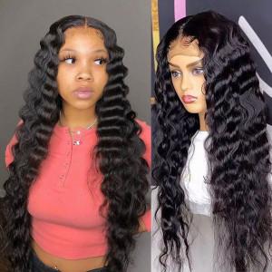 Elva Hair 150 Density 13x6 Brazilian Deep Wave Lace Front Human Hair Wigs Pre Plucked (w361)