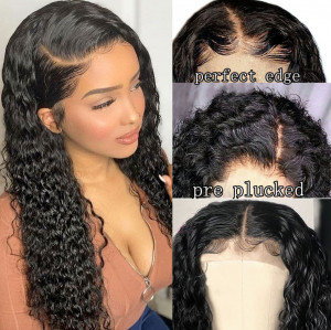 Elva Hair Full Lace Human Hair Wig Brazilian Hair Curly 130% Density for women (y41)