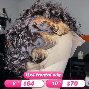 Flash Sale 13x4 Frontal Wigs Short Human Hair Rose Curly Bob Wigs(w701)
