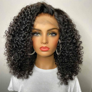 Do You Love These Bouncy Curls? Unprocessed Virgin Human Hair Breathable Lace Jerry Curly 13x6 Lace Front Bob Wigs Pre Plucked (w741)