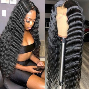 Lace Melted Perfectly! So Cute Look, Are You Feeling Into It? Virgin Human Hair Deep Wave 13x6 Lace Front Wigs Pre Plucked (w745)
