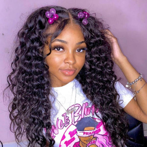 Who Loves This Thick And Bouncy Curls? Virgin Human Hair Invisible Transparent Lace 13x6 Lace Front Wigs Pre Plucked  (w755)