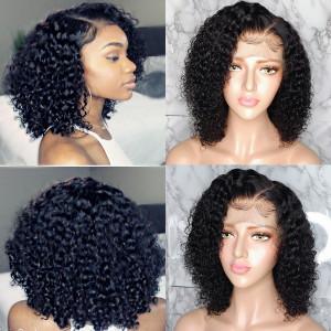 Elva Hair 150 Density Short 370 Lace Wigs Curly Human Hair Bob Wigs  (w146)