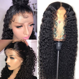 26-34inches Elva Hair 150 Density 13x6 Brazilian Curly Lace Front Wigs Pre Plucked (w254)