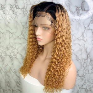 Elva Hair 150 Density Omber Color 1BT27# 13x6 Brazilian Water Wave Lace Front Human Hair Wigs Pre Plucked(w241)