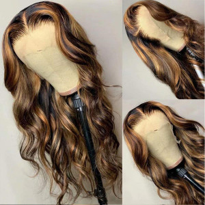 Totally Hooked By This Appearance! Love This Custom Color! Virgin Human Hair 13x6 Lace Front Wigs Pre Plucked  (w767)