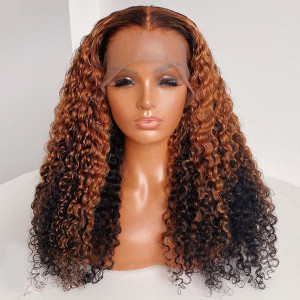 Yonce Wig 130 Density Omber 13x6 Brazilian Curly Lace Front Human Hair Wigs Pre Plucked(w391)
