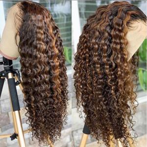 Glueless 13x6 Lace Wigs Highlight Deep Wave Brazilian Virgin Human Hair Pre Plucked Hairline (w402)