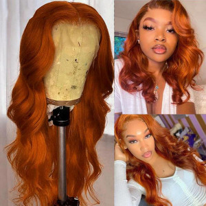 Ginger 13x6 Transparent Lace Wigs Brazilian Body Wave Lace Front Human Hair Wigs Straight Glueless Pre Plucked Hairline With Baby Hair(w720)