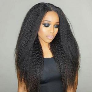 Elva Hair 150 Density Brazilian Kinky Straight 370 Fake Scalp Wig Human Hair Wigs(w210)