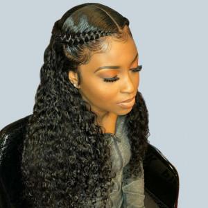 Elva Hair 150 Density Brazilian Water Wave 370 Fake Scalp Wig Human Hair Wigs(w211)