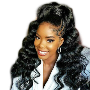 Elva Hair 2019 New Brazilian Body Wave 370 Lace Wigs 150 Density (W161)