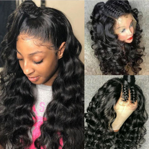 HD Lace Wig 150 Density 13x6 Brazilian Loose Wave Lace Front Human Hair Wigs Pre Plucked (w532)