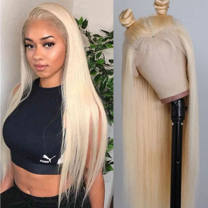 Elva Hair Pre Plucked 150% Brazilian Remy Hair 613 Blonde Silky Straight 13x6 Lace Front Wigs With Baby Hair (w364)