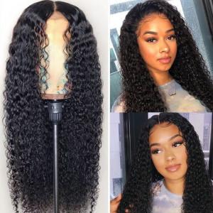 Elva Hair 150 Density Brazilian Curly 370 Fake Scalp Wig Human Hair Wigs(w212)