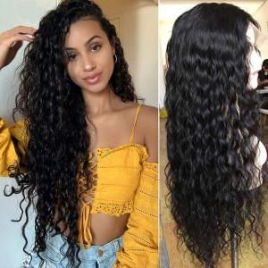 Elva Hair 250 Density Brazilian Water Wave 360 Lace Frontal Wig (w90)