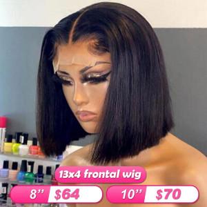 Quantity Limited! Flash Sale 13x4 Frontal Wigs Short Straight Human Hair Bob Wigs (w692)