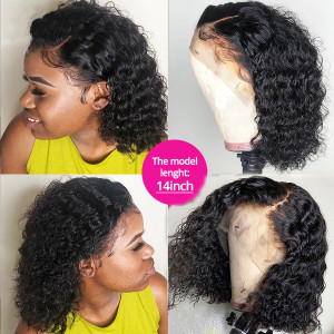 Elva Hair 130 Density 13X4 Brazilian Natural Wave Lace Front Human Hair Bob Wigs Pre Plucked (W187)
