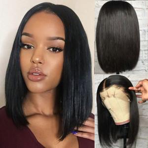 Elva Hair 150 Density Straight Brazilian Short Full Lace Human Hair Wigs Pre Plucked  (036)