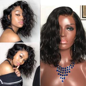 Elva Hair 360 Lace Frontal Human Hair Wigs 150% Density Wavy Bob Hair (Y83)