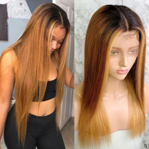 Elva Hair 130 Density Omber Color 1BT6#T27# 13x6 Brazilian Straight Lace Front Human Hair Wigs Pre Plucked(w349)