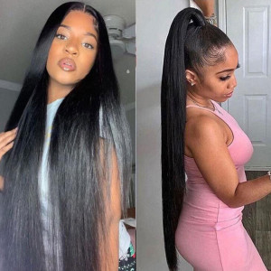 26-34inches Elva Hair 150 Density 13x6 Brazilian Straight Lace Front Wigs Pre Plucked (w247)