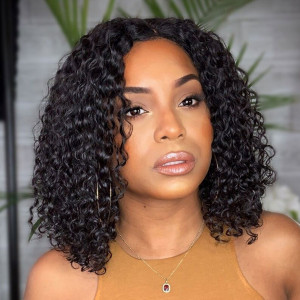Elva Hair 150 Density 13x6 Short Lace Front Human Hair Bob Wigs Curly Brazilian Remy Hair (033)