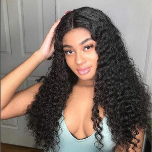 Elva Hair 180 Density Brazilian Curly 360 Lace Frontal Wig Pre Plucked (w85)