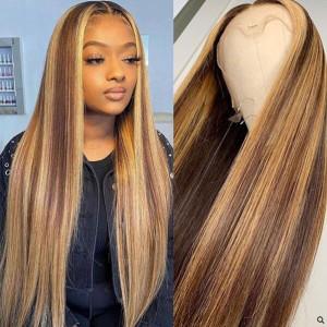 Glueless 13x6 Lace Wigs Straight Ash Brown Highlight Brazilian Virgin Human Hair Pre Plucked (w245)