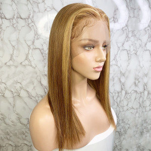 Elva Hair 150 Density Ombre Color 6T27# 13x6 Brazilian Straight Lace Front Human Hair Wigs Pre Plucked(w235)