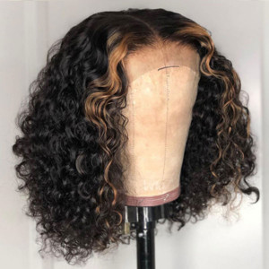 Summer Sale Glueless 13x6 Lace Bob Wigs Water Wave Brazilian Virgin Human Hair Pre Plucked Hairline With Baby Hair (w435)