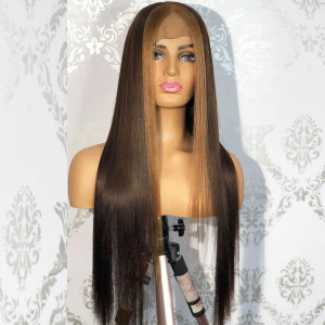 150 Density Highlight Color 13x6 Lace Wigs Brazilian Straight Remy Hair Lace Front Human Hair Wigs Pre Plucked Hairline With Baby Hair (w571)