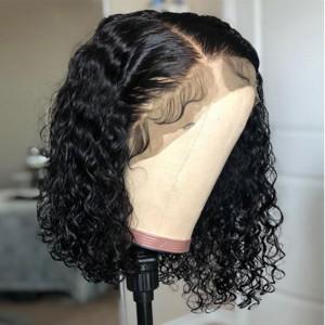 Elva Hair 150% Density Curly 13x6 Short Lace Front Human Hair Bob Wigs (w466)