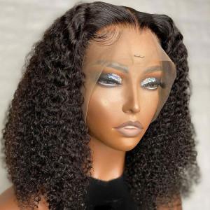 Elva Hair 150 Density 13x6 Short Curly Human Hair Wigs Brazilian Bob Lace Front Wig Pre Plucked (w526)