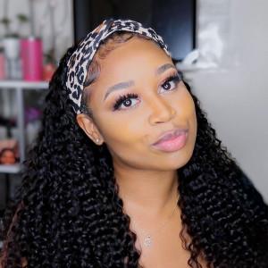 Elva Hair 150 Density Headband Wig Brazilain Deep Curly Human Hair Wig (w504)