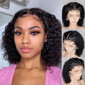 Elva Hair 150 Density 13x6 Curly Brazilian Bob Wig Lace Front Human Hair Wigs Pre Plucked (039)