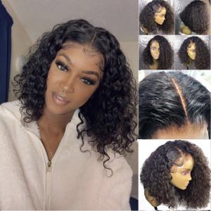Elva Hair 150% Density Brazilian Hair Curly Bob Full Lace Wigs (Y124)