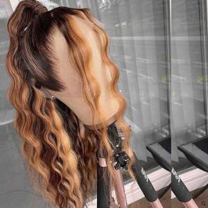 Glueless 13x6 Lace Wigs Brazilian Loose Deep Wave Ash Brown Highlight Virgin Human Hair (w343)