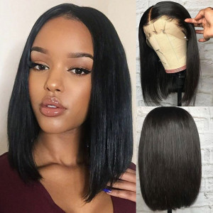 Elva Hair 150 Density 13x6 Short Straight Lace Front Human Hair Bob Wigs Pre Plucked(w57)