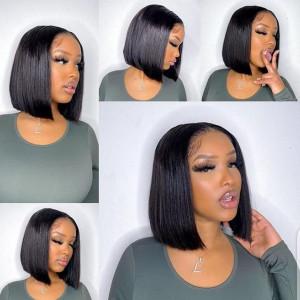 Top Sale Glueless 13x6 Lace Bob Wigs Straight Brazilian Virgin Human Hair Pre Plucked Hairline (w172)