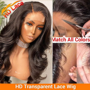 Elva Hair 150 Density 5x5 HD Lace Front Wigs Brazilian Body Wave Human Hair Wig Pre Plucked (w473)