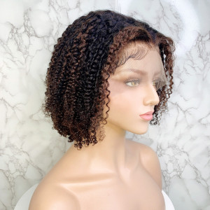 Elva Hair 150 Density Omber Color 13x6 Brazilian Curly Lace Front Human Hair Wigs Pre Plucked(w236)