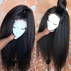 Elva Hair 2019 New 150 Density 370 Lace Wigs Brazilian Kinky Straight Human Hair Wigs (w155)
