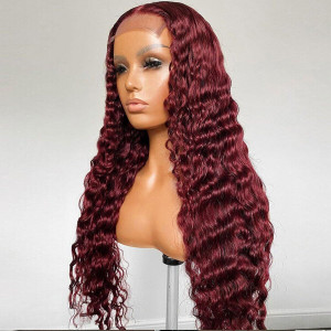 99J Color 13x6 Lace Wigs Brazilian Natural Wave Lace Front Human Hair Wigs Pre Plucked Hairline With Baby Hair(w730)